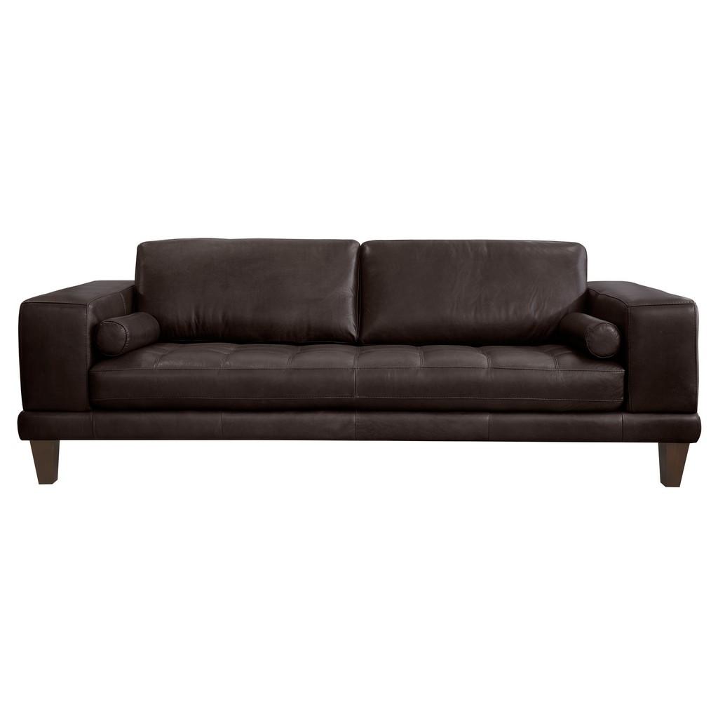 Wynne Contemporary Sofa Genuine Leather Brown Wood Legs