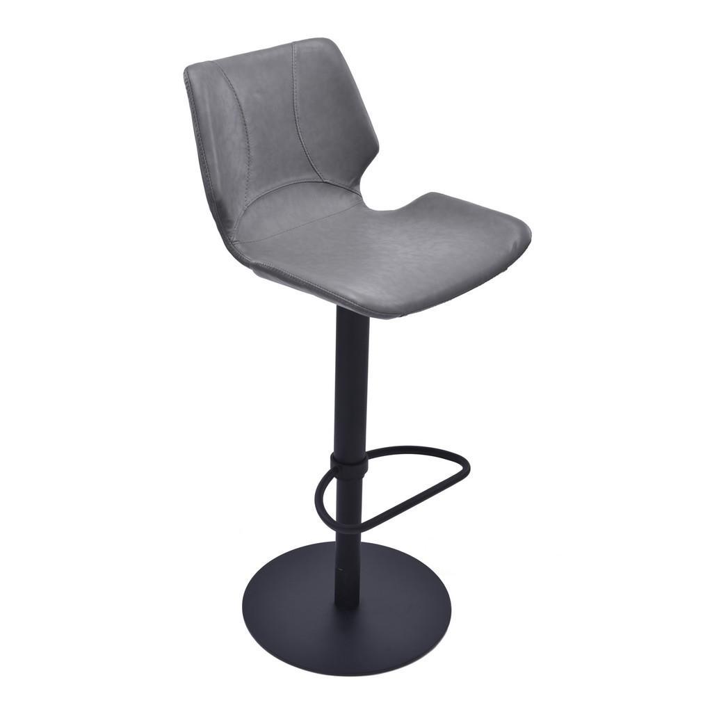Armen Living Zuma Adjustable Swivel Metal Barstool in Vintage Gray Faux Leather and Black Metal Finish - Armen Living LCZUBAVGBL