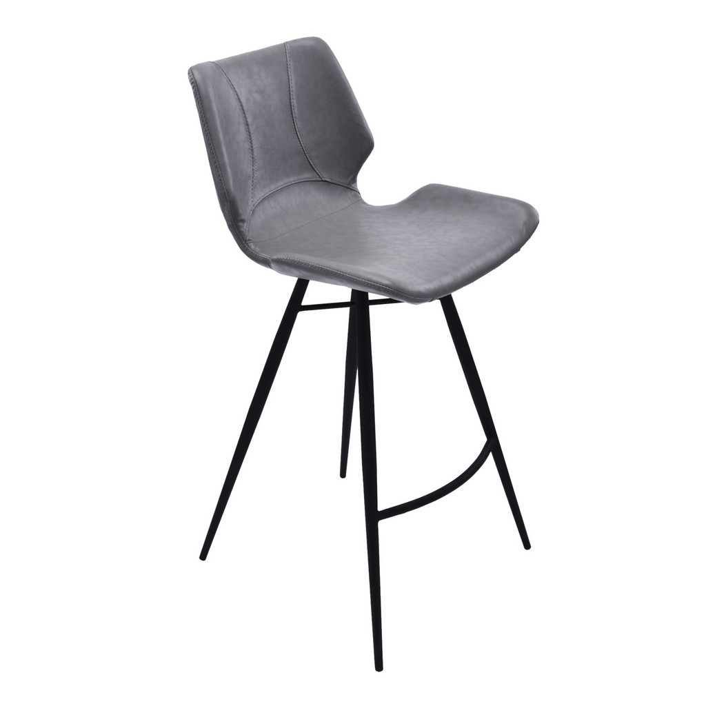 """Armen Living Zurich 26"""" Counter Height Metal Barstool in Vintage Gray Faux Leather and Black Metal Finish - Armen Living LCZUBAVGBL26"""