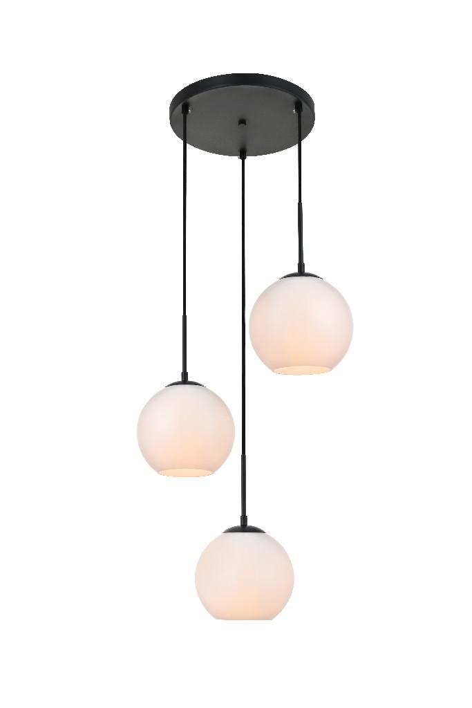 Elegant | Pendant | Glass | White | Light | Black