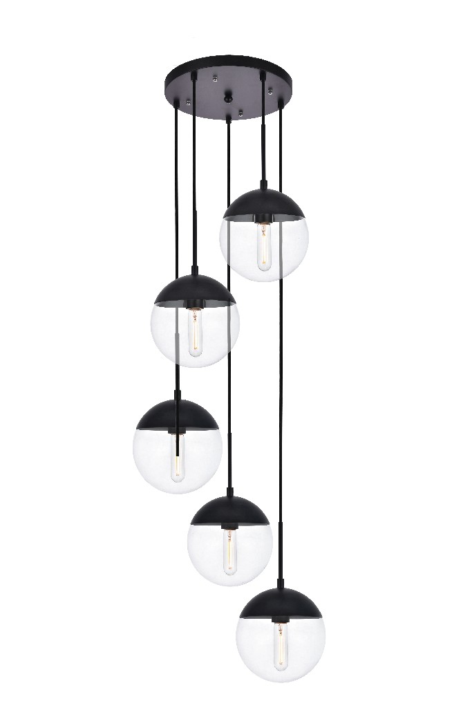 Elegant | Pendant | Clear | Glass | Light | Black