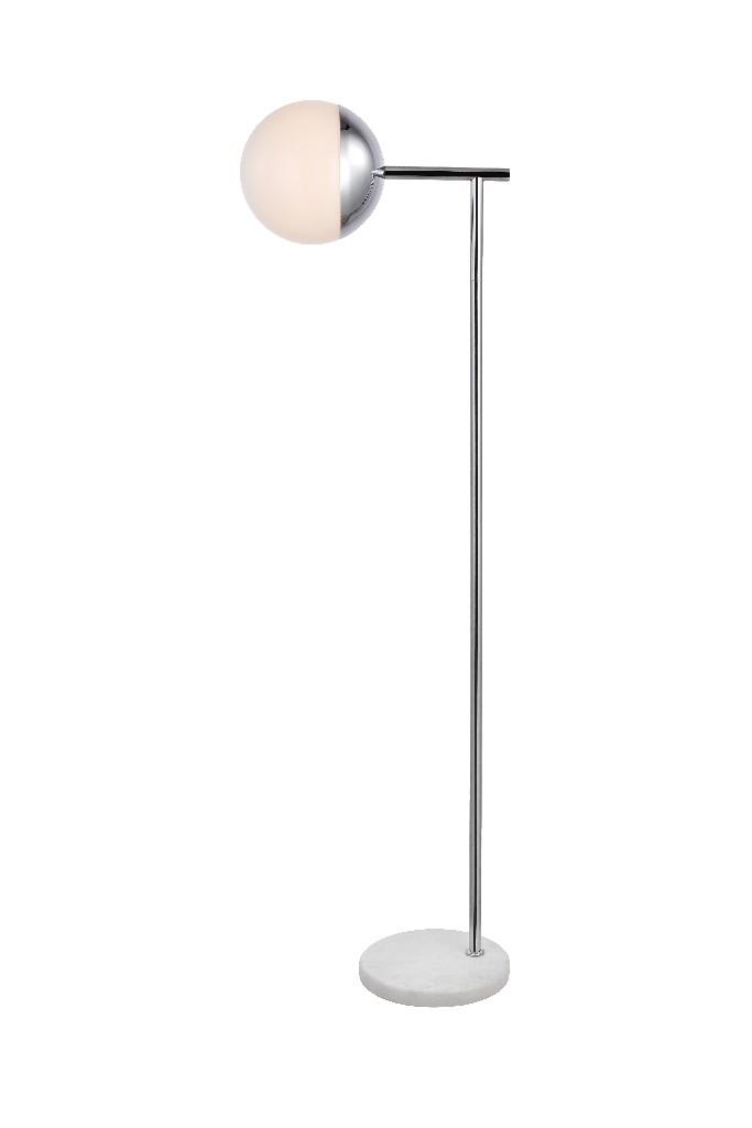Elegant   Chrome   Floor   Glass   White   Light   Lamp