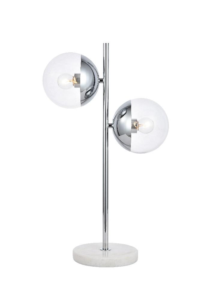 Elegant   Chrome   Clear   Glass   Table   Light   Lamp