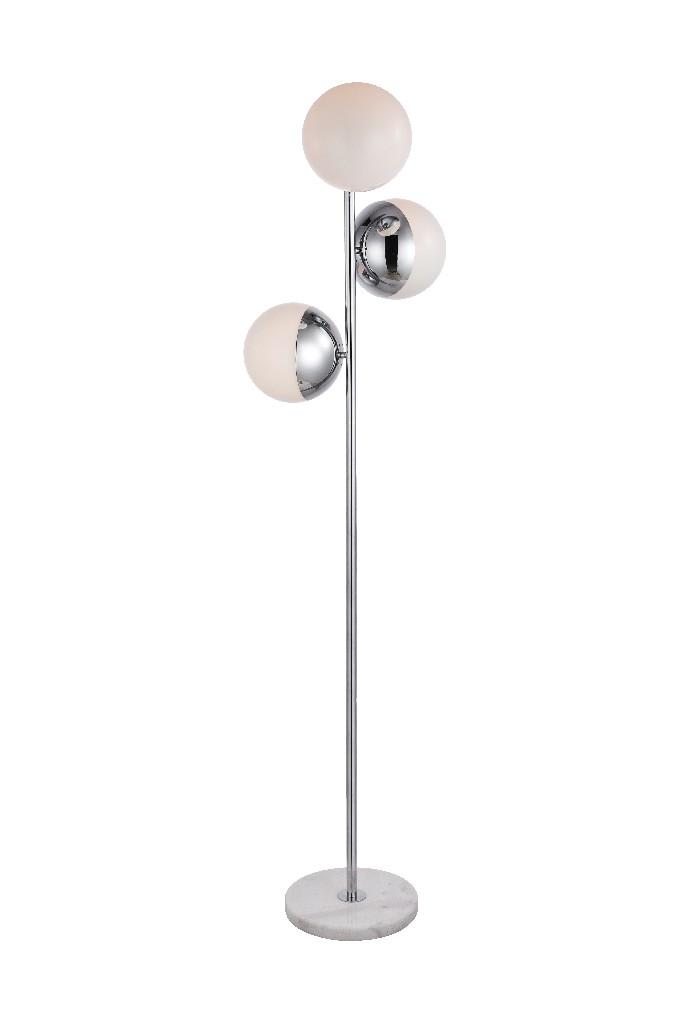 Elegant | Chrome | Floor | Glass | White | Light | Lamp