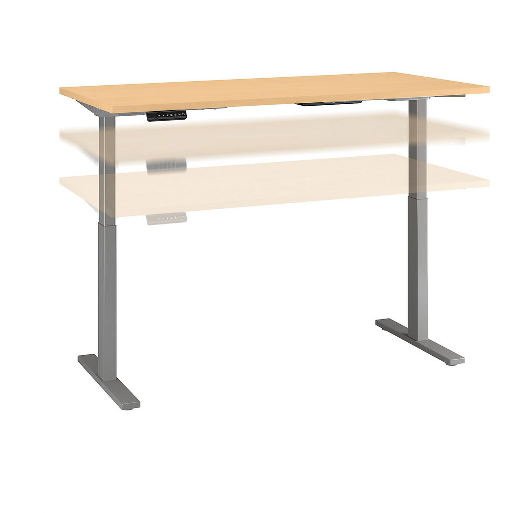 Bush Business Furniture M6S6030ACSK - Move 60 Series by 60W x 30D Height Adjustable Standing Desk in Natural Maple w/ Cool Gray Metallic Base