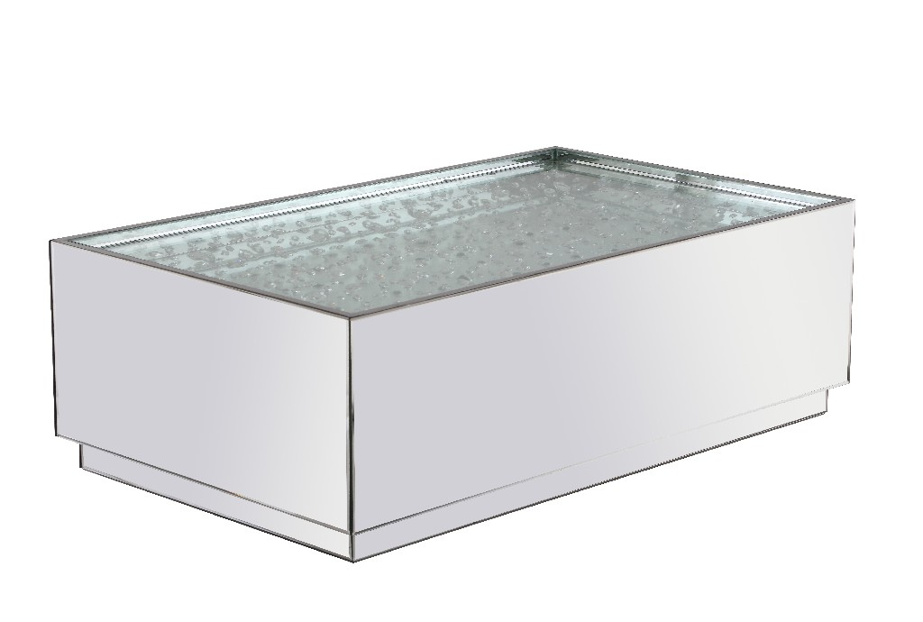 Elegant Lighting Rectangle Crystal Coffee Table Clear Royal Cut Crystal