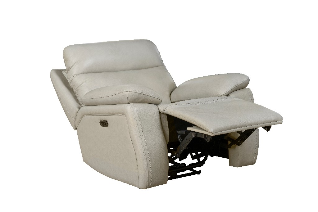 Barcalounger Micah Power Recliner Power Head Rest Venzia Cream Leather Match
