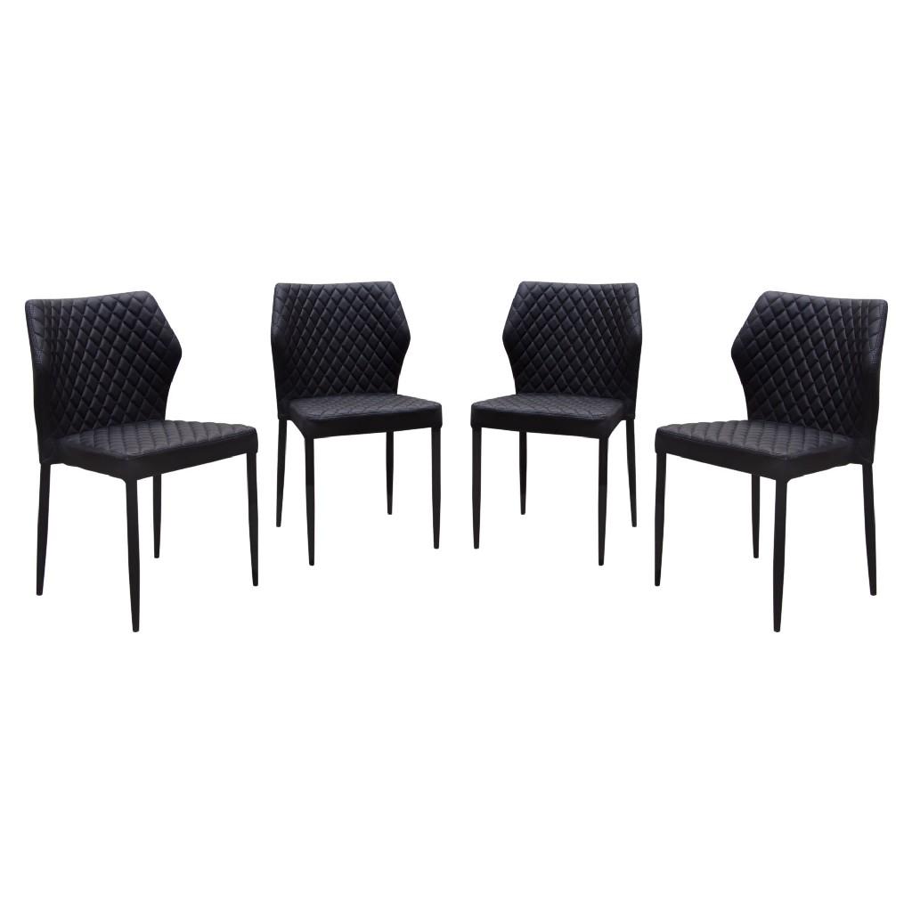 Diamond Sofa Milo Pack Dining Chairs Black Tufted Leatherette Black
