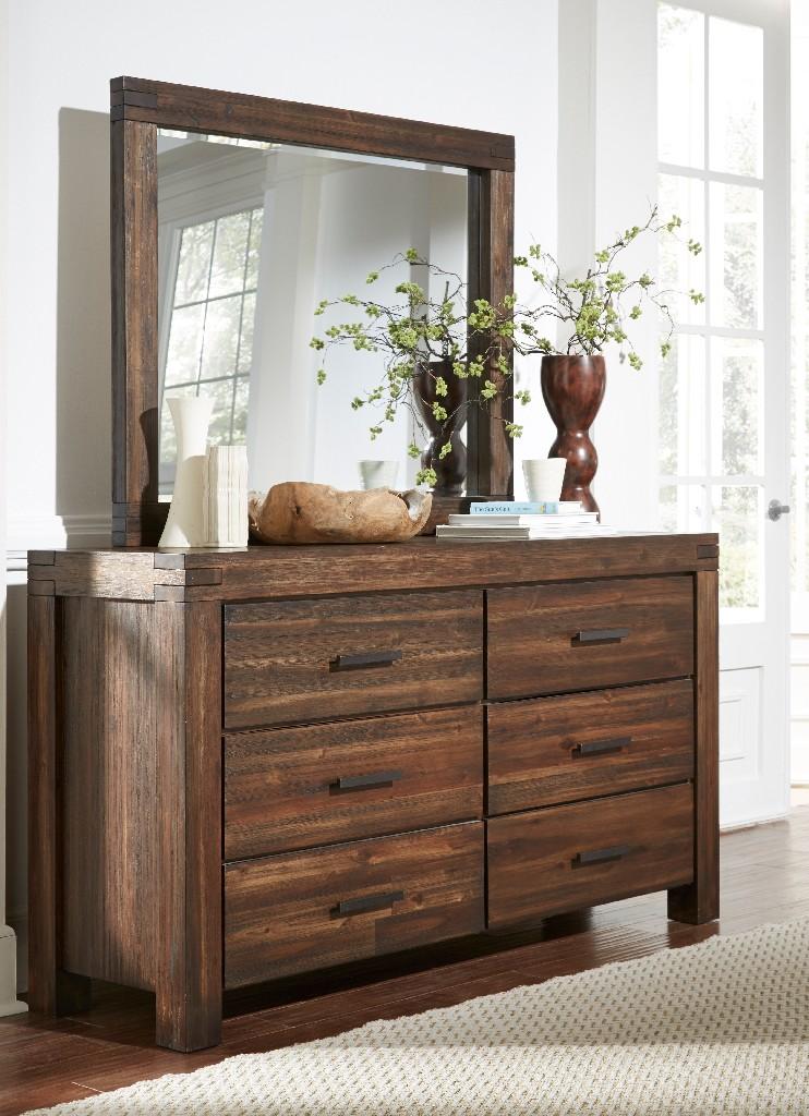 Meadow Six Drawer Solid Wood Dresser in Brick Brown - Modus 3F4182 Image