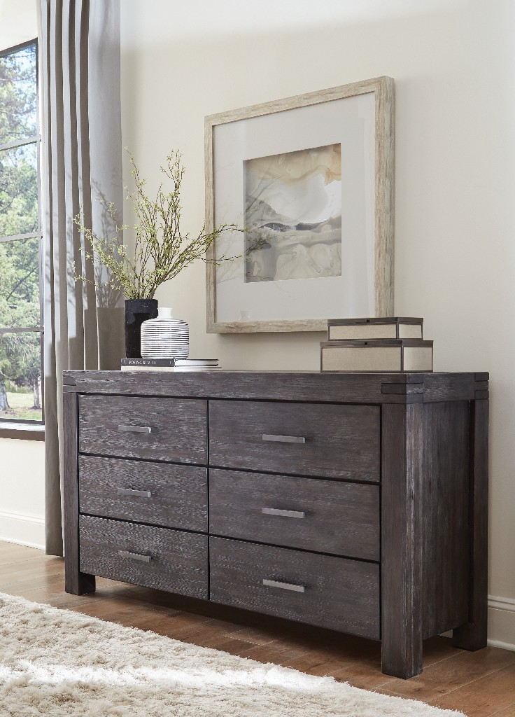 Meadow Six Drawer Solid Wood Dresser in Graphite - Modus 3FT382 Image