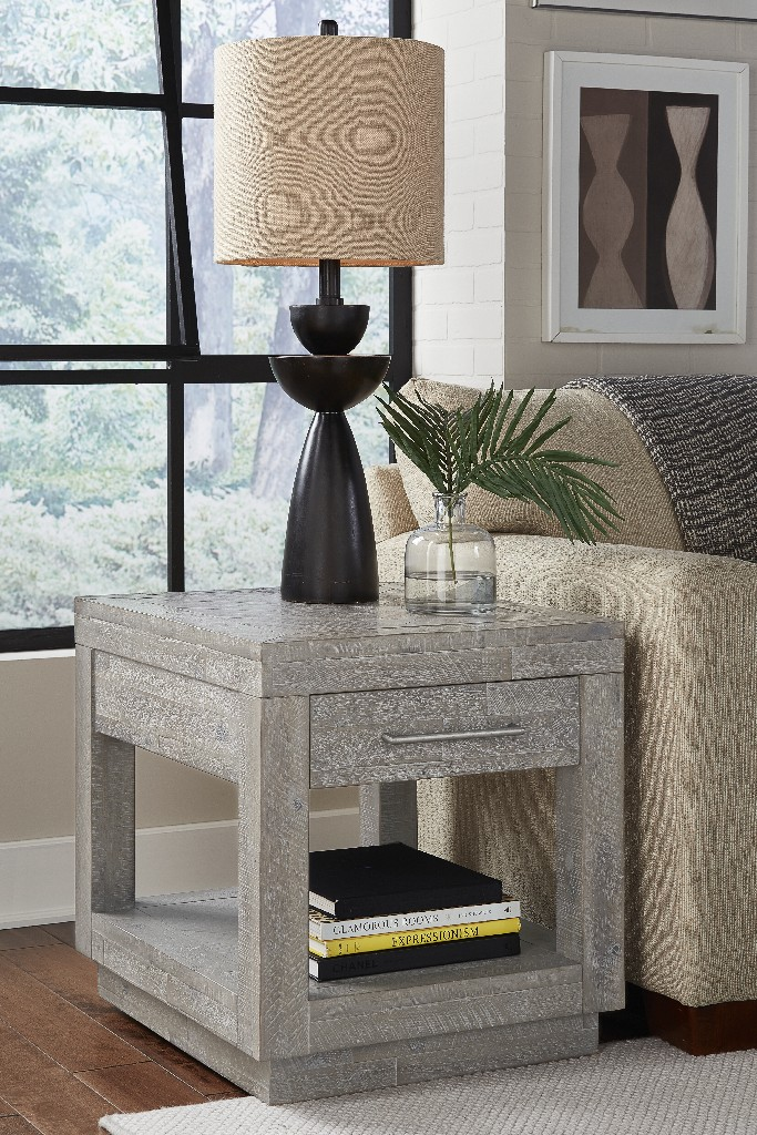 Alexandra Solid Wood One Drawer End Table in Rustic Latte - Modus 5RS322