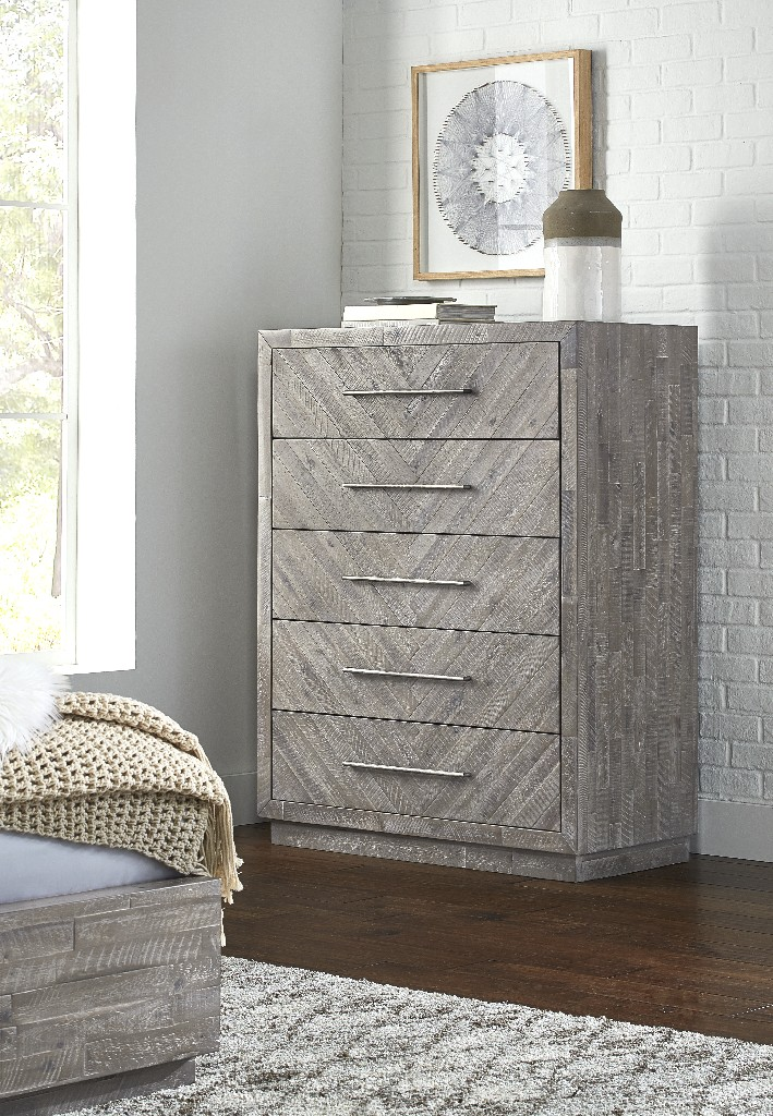 Alexandra Solid Wood Five Drawer Chest in Rustic Latte - Modus 5RS384