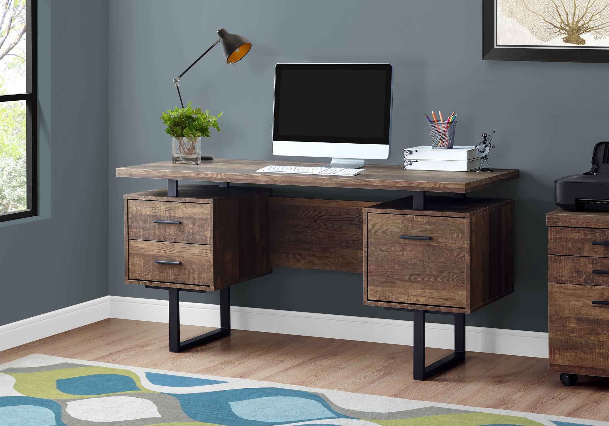 "60"" Computer Desk in Brown Wood Grain / Black Metal - Monarch Specialties I-7416"