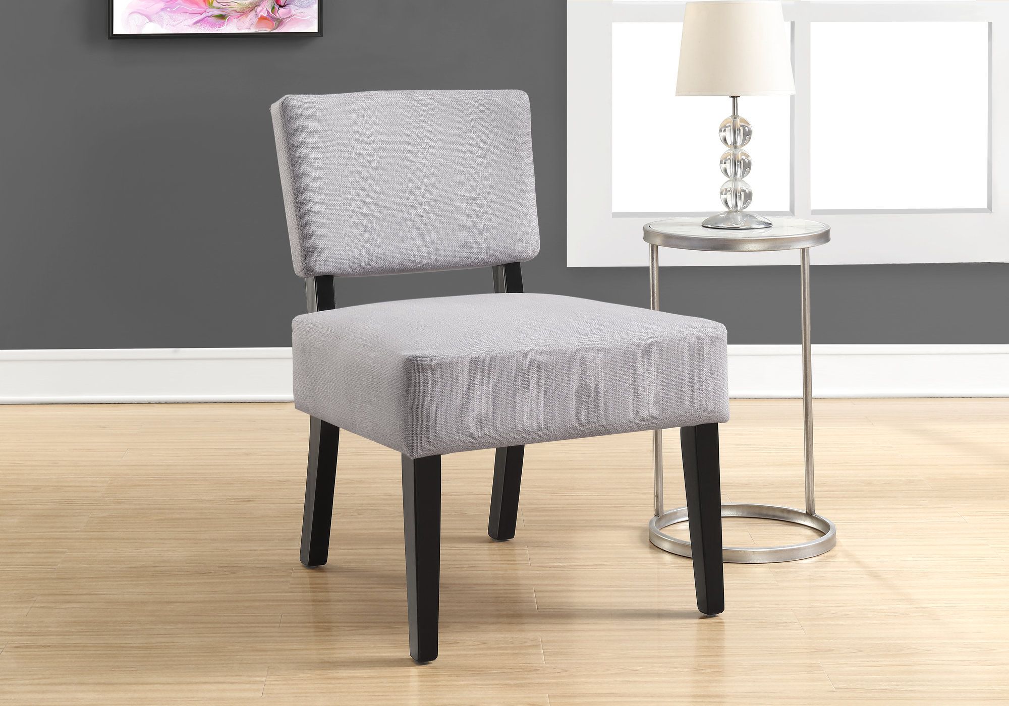 Accent Chair In Light Grey Fabric Monarch Specialties I 8276