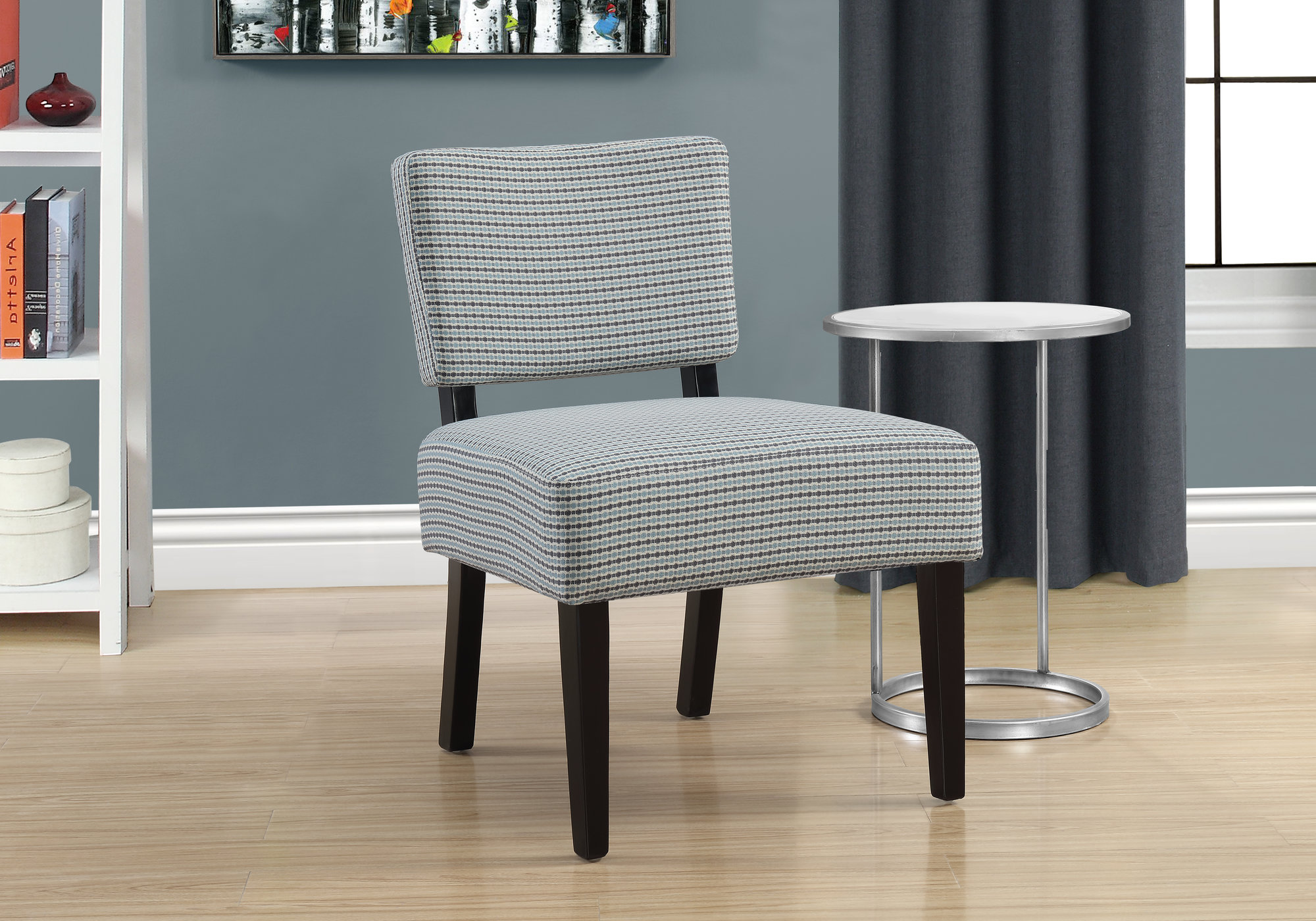 Abstract   Accent   Fabric   Chair   Light   Grey   Blue   Dot