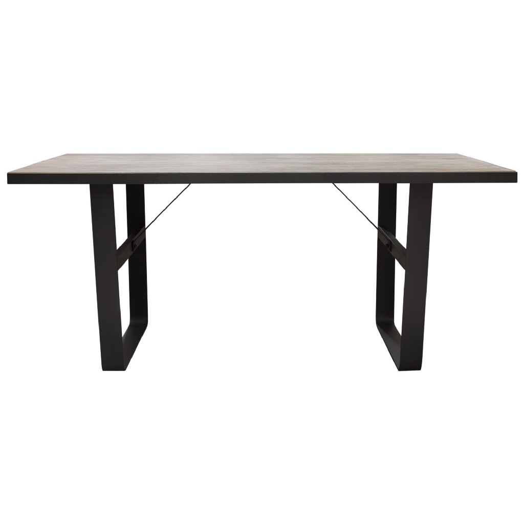Dining Table Or Office Desk Rustic Oak Top Black Metal