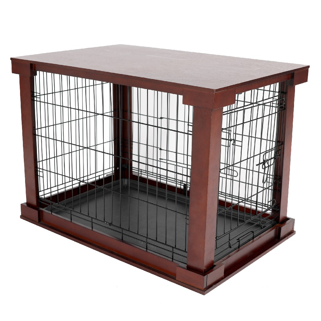 Cage w/ Crate Cover, Mahogany, Large - Zoovilla MPLC001