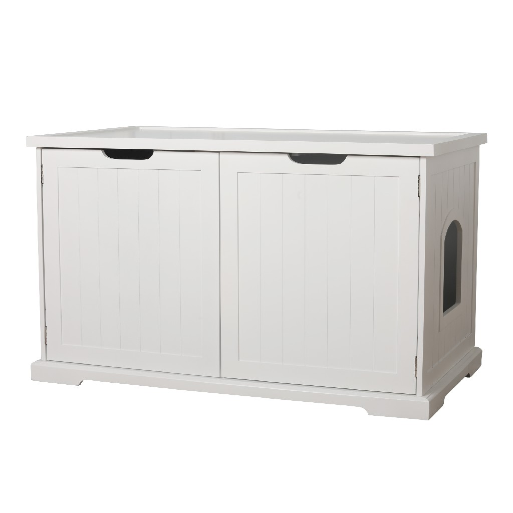 Large Cat Washroom Bench in White - Zoovilla MPS010