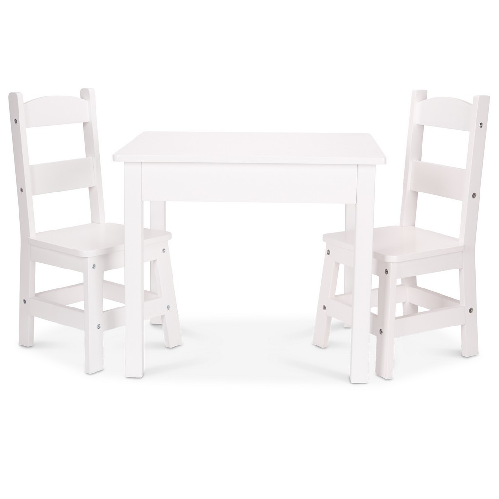 Wooden Table & Chairs, White - MS30225