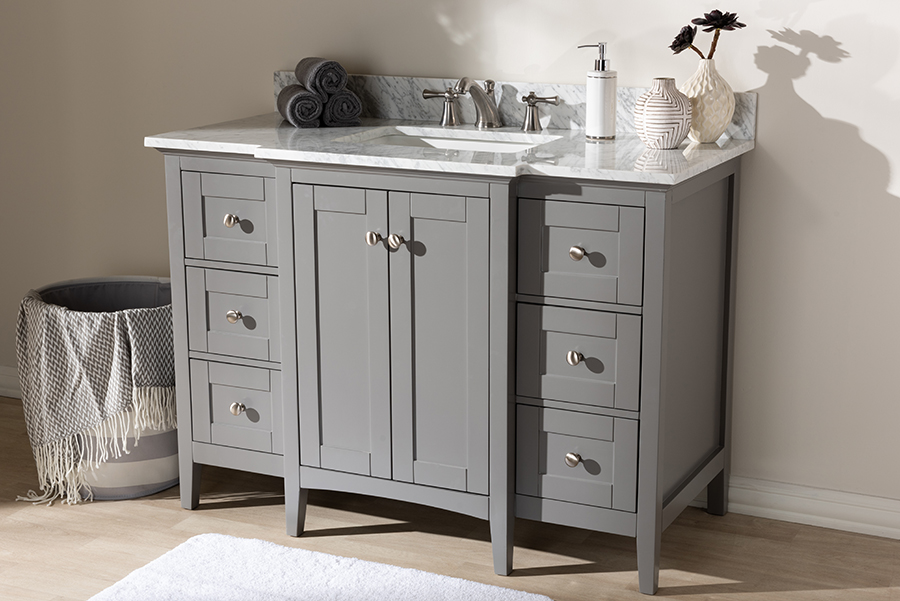 Wholesale Interiors Murray Transitional Grey Finished Wood Marble Sink