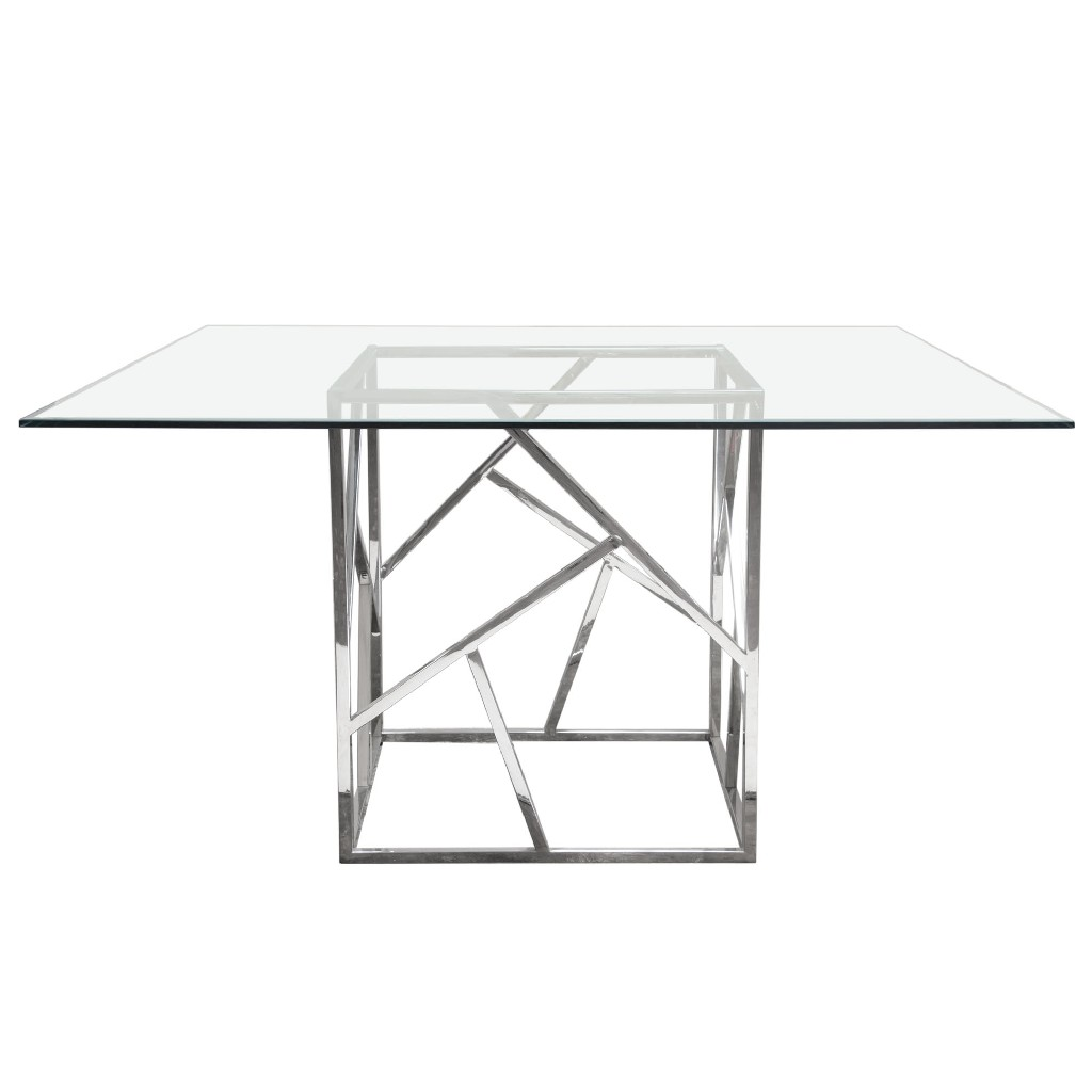 Dining Table Clear Tempered Glass Top Polished Stainless