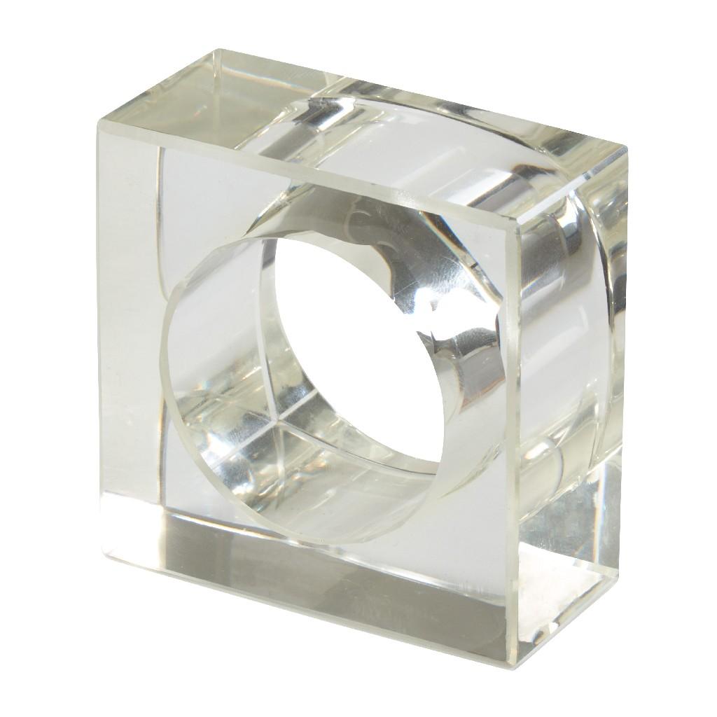 Acrylic Napkin Ring w/ Square Design (Set of 4) - Saro Lifestyle NR218.C