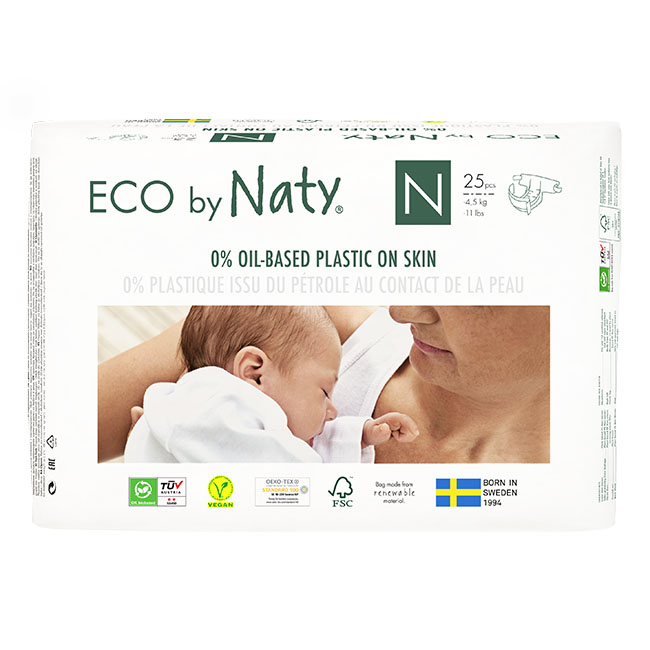 Eco by Naty Diapers, Size Newborn, 100 Diapers, (4 Pack of 25) - NT178341