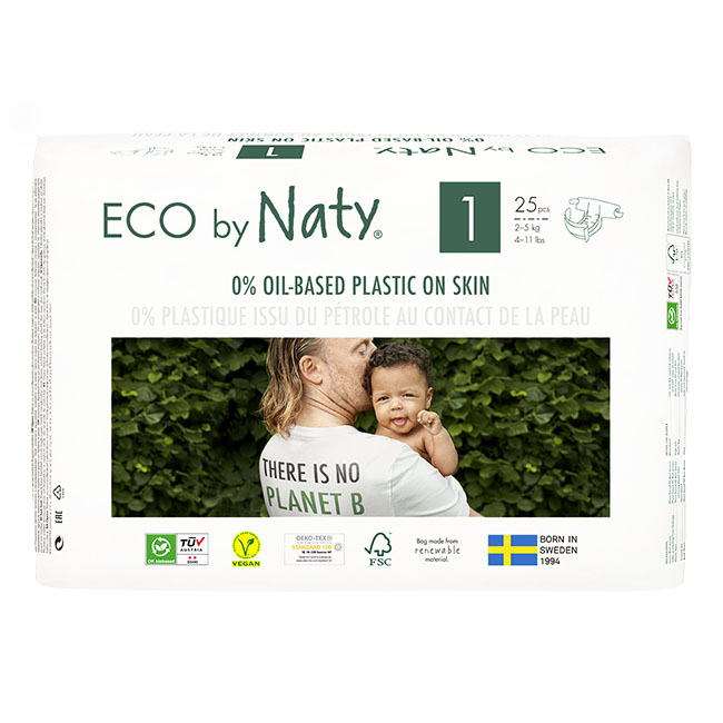 Eco by Naty Diapers, Size 1, 100 Diapers (4 Pack of 25) - NT178358