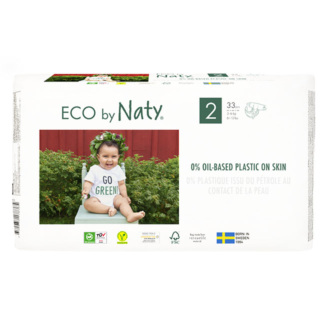 Eco by Naty Diapers, Size 2, 132 Diapers (4 Pack of 33) - NT178365