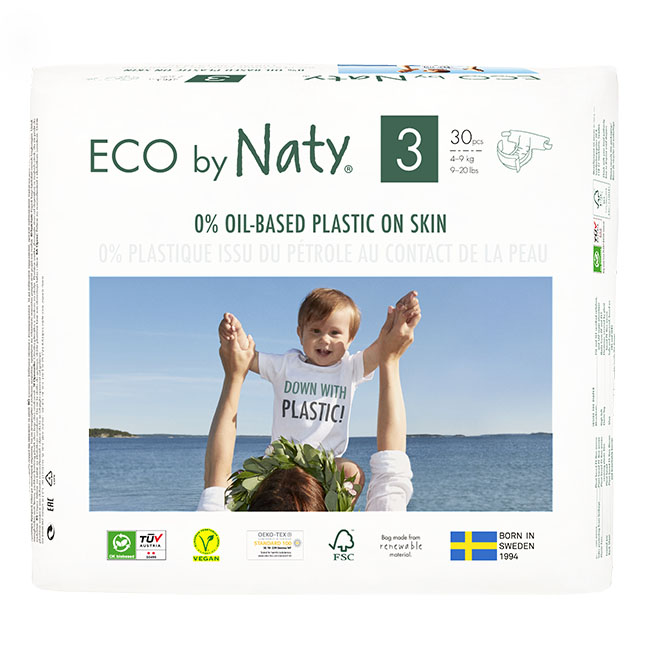 Eco by Naty Diapers, Size 3, 180 Diapers (6 Pack of 30) - NT178372