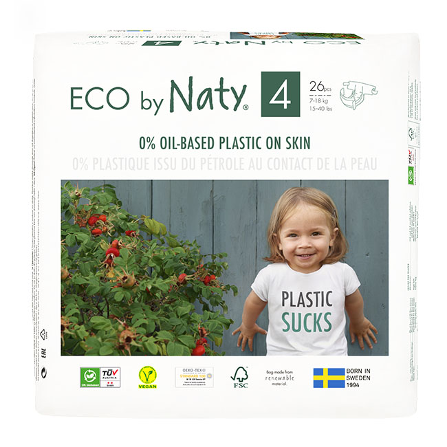 Eco by Naty Diapers, Size 4, 156 Diapers (6 Pack of 26) - NT178389
