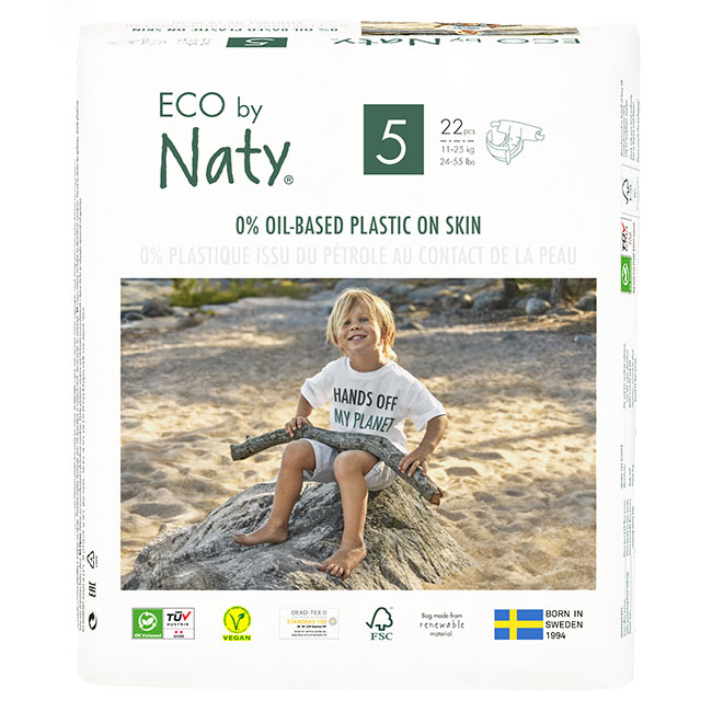 Eco by Naty Diapers, Size 5, 132 Diapers (6 Pack of 22) - NT178402