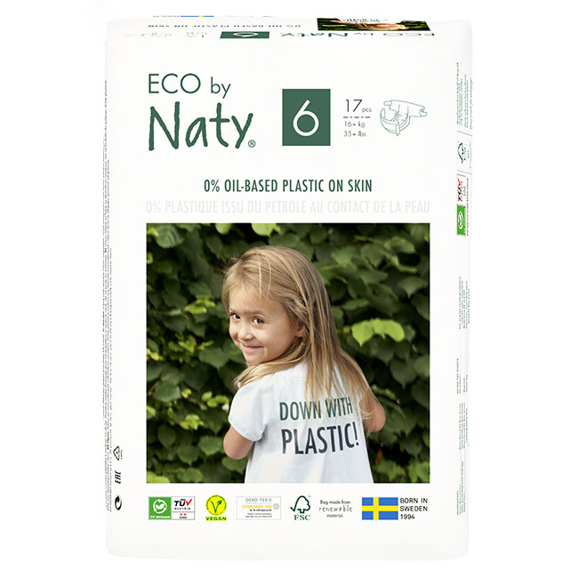 Eco by Naty Diapers, Size 6, 102 Diapers (6 Pack of 17) - NT178419