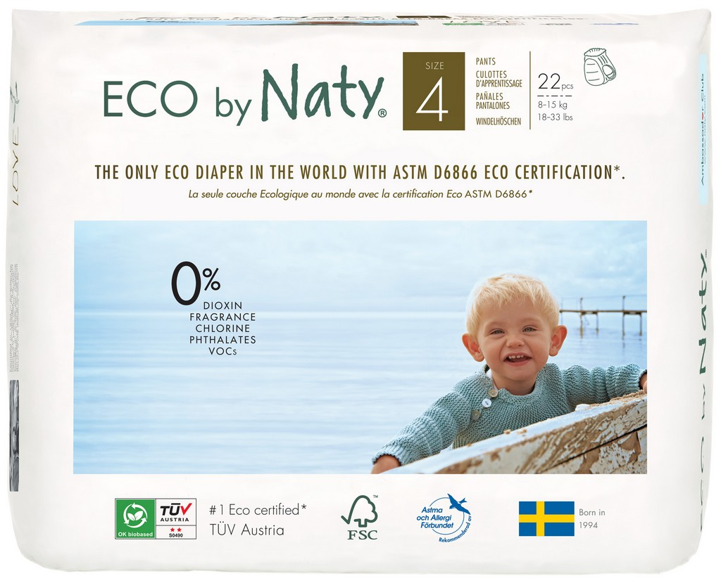 Eco by Naty Pull on Pants, Size 4, 88 Diapers (4 Pack of 22) - NT244091