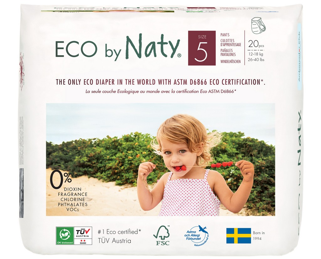 Eco by Naty Pull on Pants, Size 5, 80 Diapers (4 Pack of 20) - NT244107