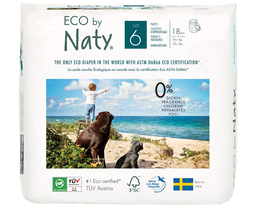 Eco by Naty Pull on Pants, Size 6, 72 Diapers (4 Pack of 18) - NT244114
