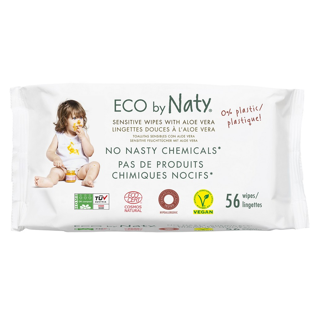 Eco by Naty Aloe Wipes 672x (12 Pack of 56) - NT245036