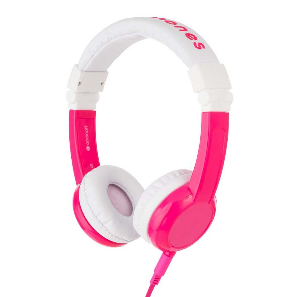 BuddyPhones Explore Cushioned Foldable Headphones with In-Line Microphone and Travel Bag (Pink) - OABP-EX-FD-PINK-01-K
