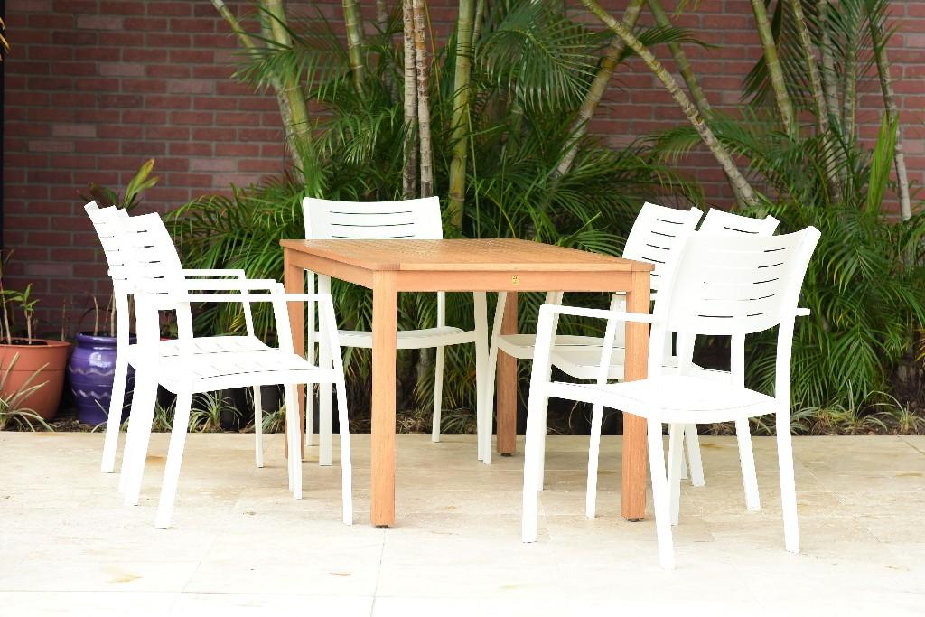 International Home Rectangular Dining Set Teak Patio