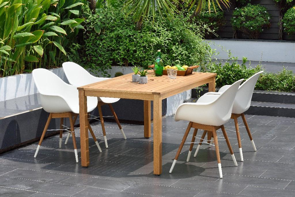 Rectangular Eucalyptus Dining Set Teak Durable Ideal Outdoors