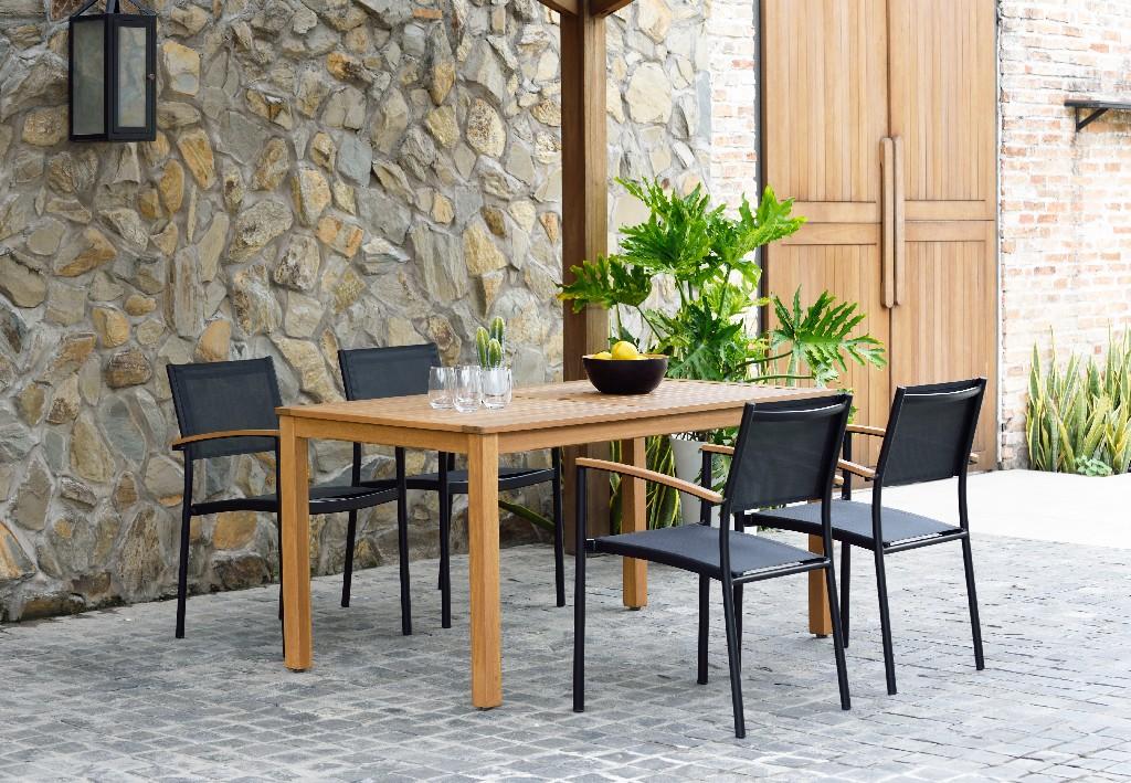International Home Fontana Rectangular Eucalyptus Dining Set Teak Table Quick Dry Black Chairs Durable Ideal