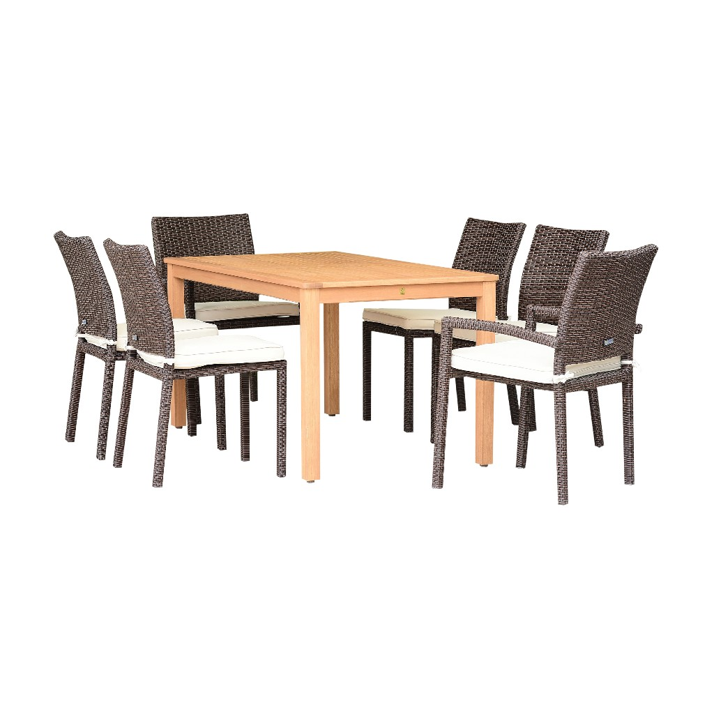 International Home Dining Set Rectangular Patio Teak Wicker Chairs Durable