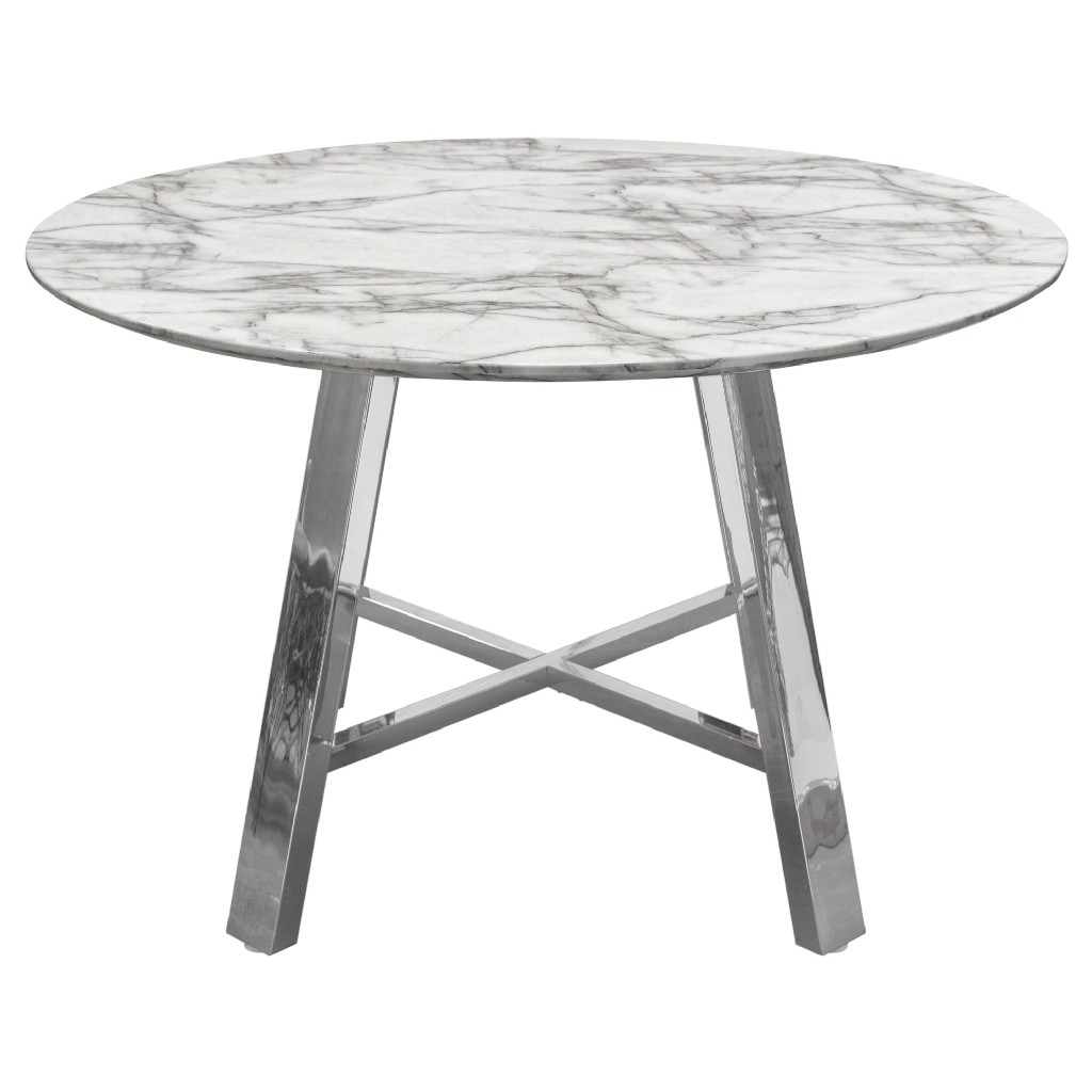 Round Dining Table Marble Top Chrome Base