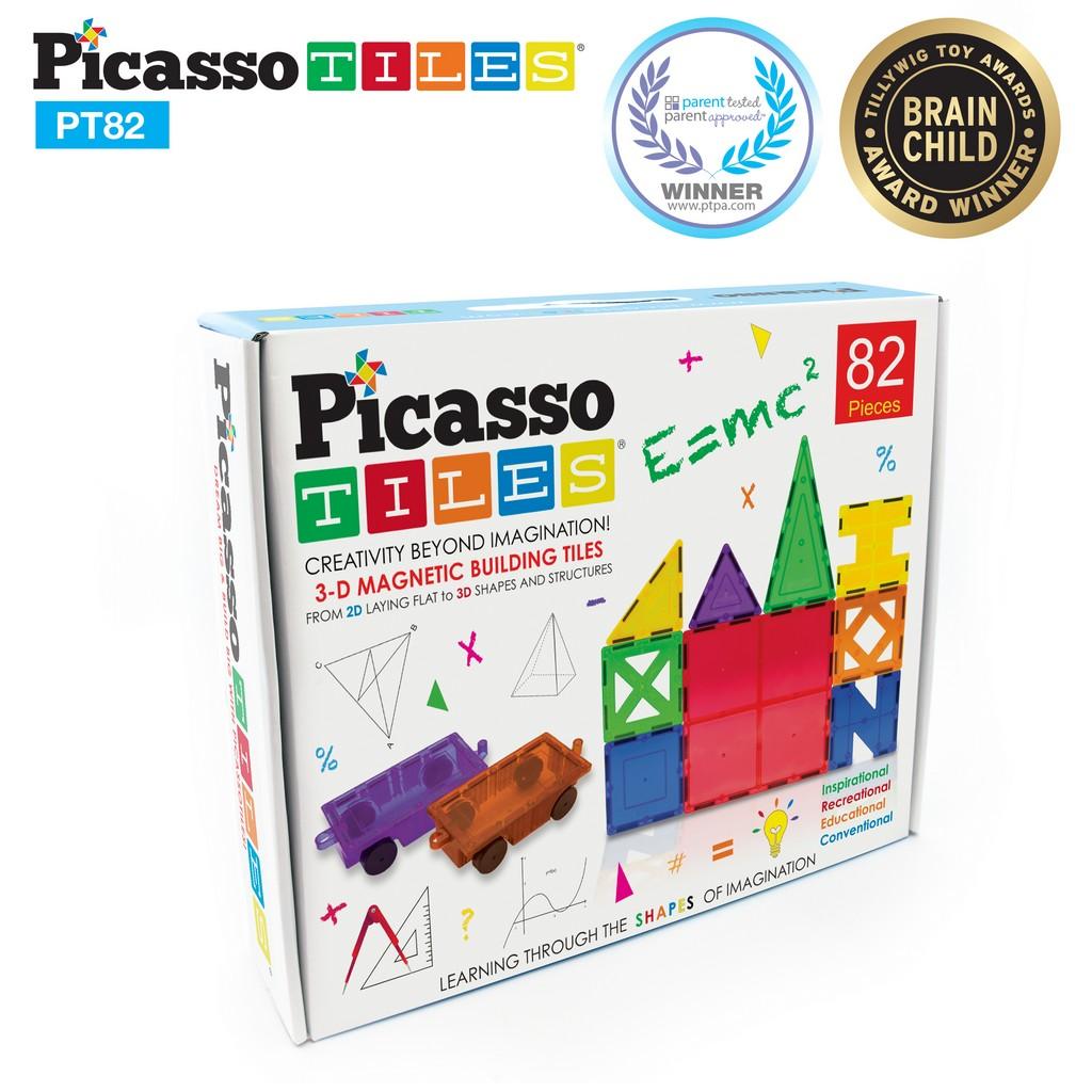 PicassoTiles 82-pc Set Magnetic Blocks Plus 2 Cars - PCPT82