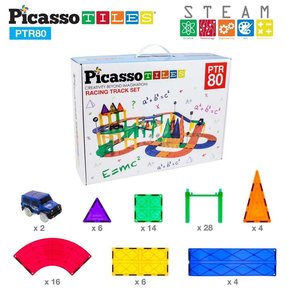 PicassoTiles 80-pc Race Track Building Blocks - PCPTR80