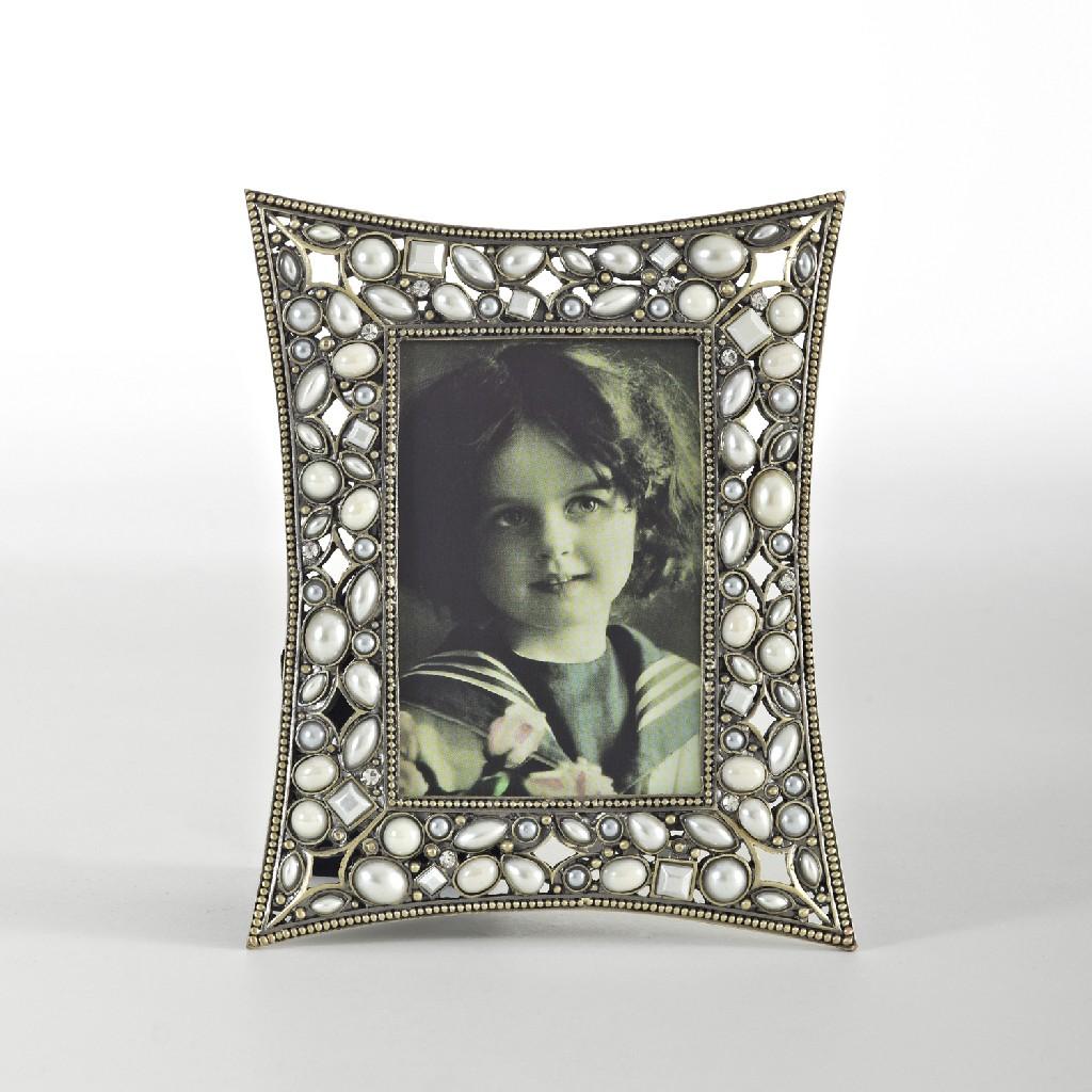 Antique Faux Pearl & Beaded Design Jeweled Photo Frame - Saro Lifestyle PF332.GL2.53.5