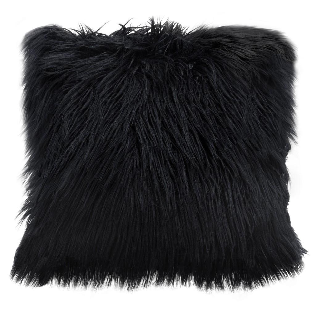 "18"" Square Accent pillow in Black Dual-Sided Faux Fur - Diamond Sofa PILLOWBL18"