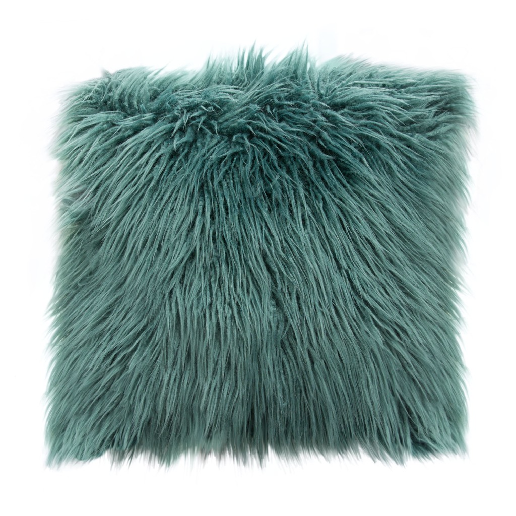 """18"""" Square Accent pillow in Teal Dual-Sided Faux Fur - Diamond Sofa PILLOWTL18"""