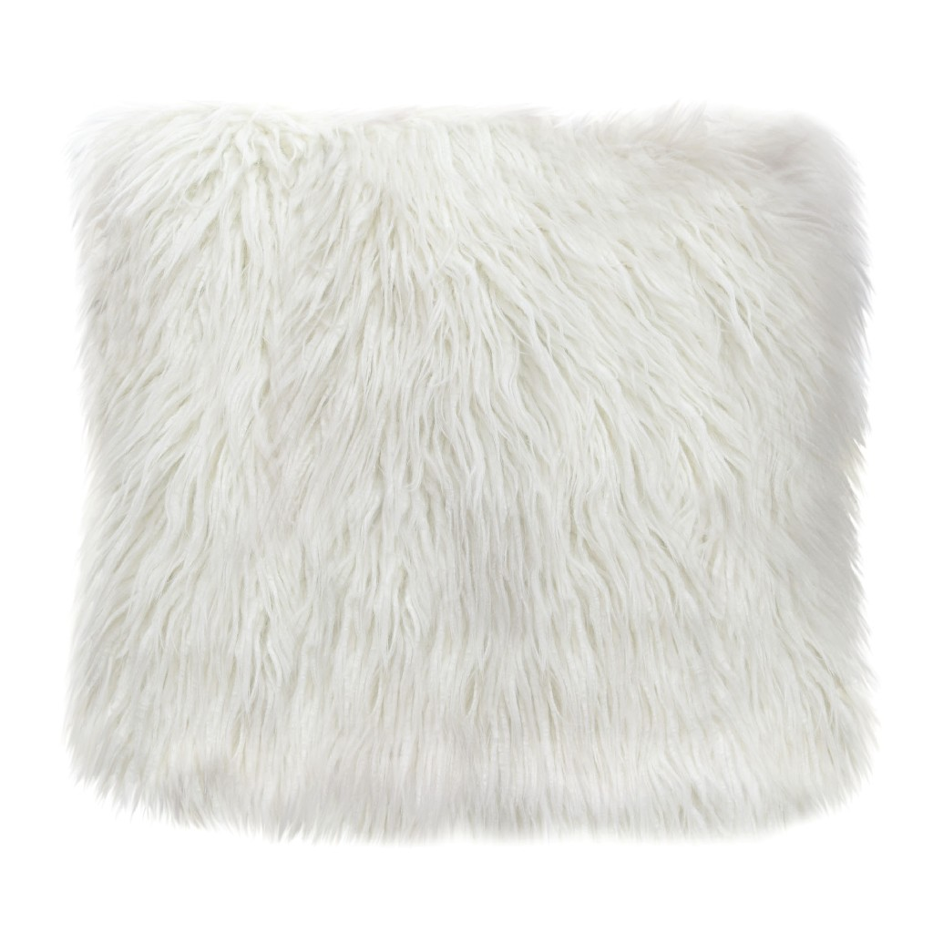 """18"""" Square Accent pillow in White Dual-Sided Faux Fur - Diamond Sofa PILLOWWH18"""