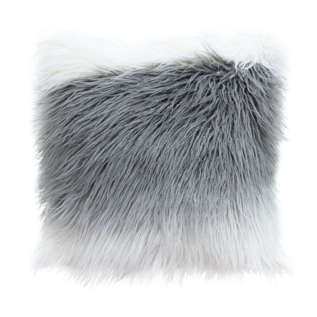 """18"""" Square Accent pillow in White/Grey Ombre Dual-Sided Faux Fur - Diamond Sofa PILLOWWHGR18"""